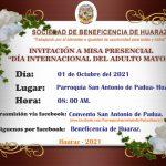 ¡INVITACIÓN A MISA EN HOMENAJE AL DÍA INTERNACIONAL DEL ADULTO MAYOR!